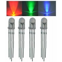 Led 5mm Rgb Transparente Alto Brillo Catodo Comun 4 Patas